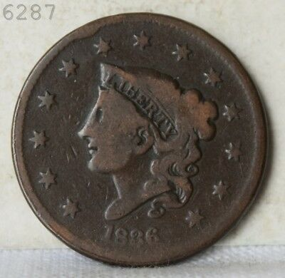 1836 Coronet Head Large Cent *Free S/H After 1st Item*