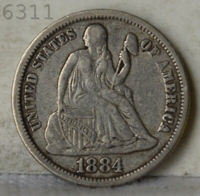 "1884 Liberty Seated Dime ""XF"" *Free S/H After 1st Item*"
