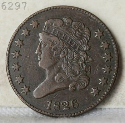 """1826 Classic Head Half Cent """"XF"""" *Free S/H After 1st Item*"""
