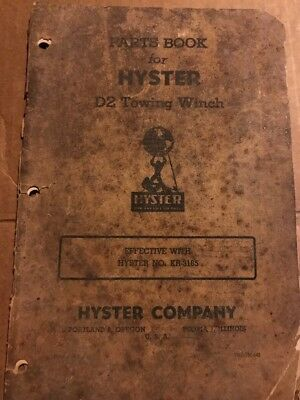 Hyster D7f Towing Winch Parts Book Instruction Manual 3000