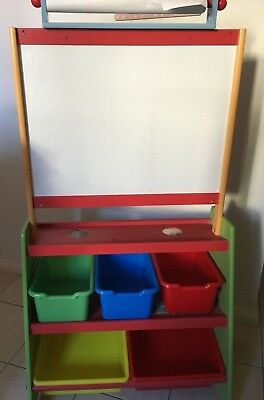 Children's Blackboard and Whiteboard Easel with Storage tubs