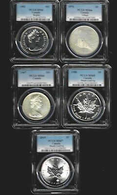 Lot of 5 PCGS Certified Canada Silver Coins