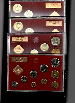 USSR Russia Mint Sets 1974, 1976, 1977, 1978 in cases (No boxes)