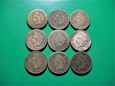 Nice Mix Of 9 Copper Nickel Indian Head Cents - See Pictures!