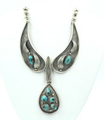 Vintage Native American Sterling Silver Beaded Turquoise Necklace Dmp 69-Nr #664