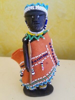Vintage African Zulu  Beaded Carved Wood Doll - Port Elizabeth