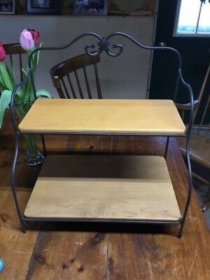 Longaberger Wrought Iron small Baker's Rack Stand with 2 WoodCrafts shelves