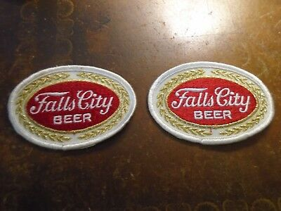 Two (2) Vintage Falls City Beer Brewing Distributor Jacket Patch 1960s NOS