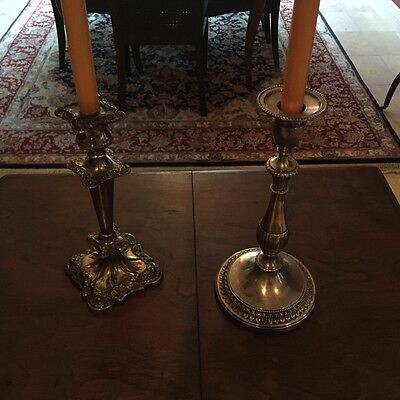 Antique Pair of silver plated - mis-matched candle sticks