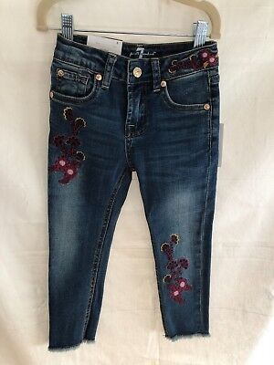 Girls 7 For All Mankind Floral Embroidered Ankle Jeans NWT Size 5