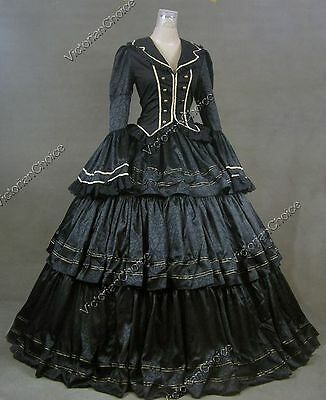 Victorian Civil War Black Brocade Dress Gown Theater Reenactment Costume 188 XL