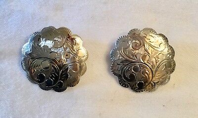 Pair Vintage Sterling Silver Etched Brooches Pins