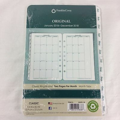 FRANKLIN COVEY FranklinCovey Original Dated Monthly Planner Refill Jan-Dec 2018