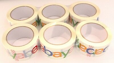 6 x Rolls eBay Official Branded Packaging Sticky Tape 50mm x 68 Metres Logo