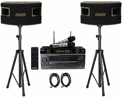 "BMB CSV450 10"" Speakers+Acesonic AM-200 960W Amplifier with Wireless Mics"