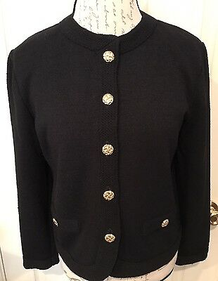 Castleberry Women's Blazer Jacket Black Gold Buttons Vintage Sz 12 Made In USA