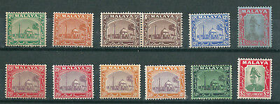 MALAYA SELANGOR 1935 -41 definitives selection of lightly mounted mint