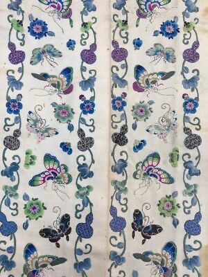Antique Chinese Embroidered Qing Dynasty Sleeve Band Panel Blue Moths Butterfly