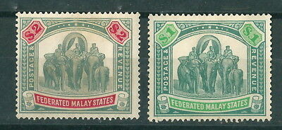 MALAYA FMS 1926 $1 greygreen & emerald, $2 lightly mounted mint with good colour