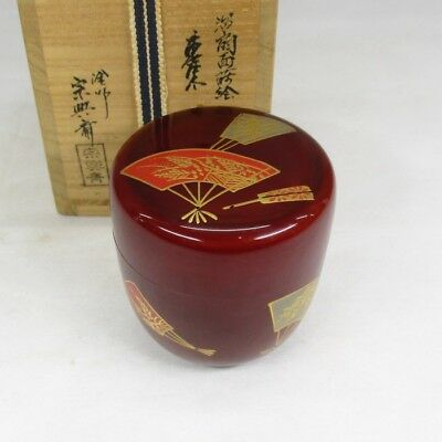 F779: Japanese lacquer ware powdered tea container of good fan MAKIE with box