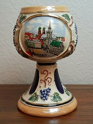 Vintage GERZ CERAMIC WEST GERMAN WINE GOBLET STEIN CUP Lusterware ~ Munchen