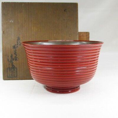 F835: Japanese old lacquer ware bowl of ITOME-MON pattern with GINDAME work
