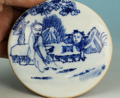 Chinese Old Blue And White Porcelain Handmade Painting Plate