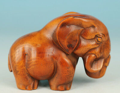 Chinese Old Boxwood Handmade Carving Elephant Collect Statue Figure