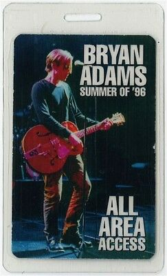 Bryan Adams authentic 1996 concert tour Laminated Backstage Pass ALL ACCESS