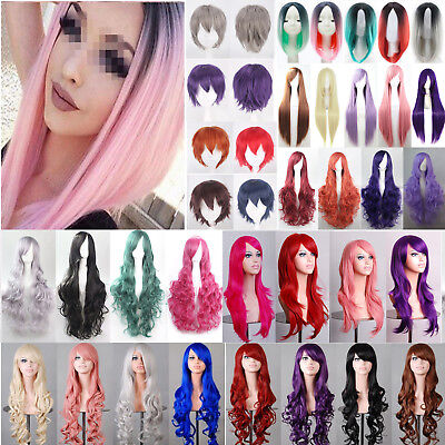 Womens Long Wavy Curly Hair Synthetic Cosplay Full Wig Wigs Party Costume Unisex