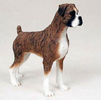 BOXER UNCROPPED DOG Figurine Statue Hand Painted Resin Gift Pet Lovers Brindle