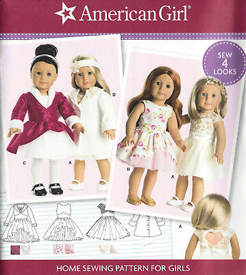 "18"" AMERICAN GIRL DOLL Modern Dresses, Coat Simplicity 8280 Sewing Pattern UNCUT"