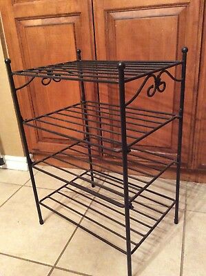 "Longaberger Wrought Iron End Table Side Table Modular w/ Stand 4 Shelf Rack 26""T"