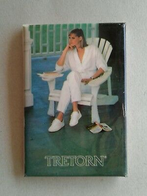 Vintage Tretorn pocket hand mirror advertising shoes woman sitting in chair book