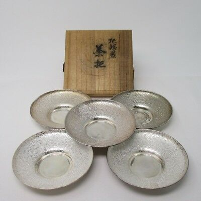 F851: REAL Japanese quality pure silver teacup saucer for green tea SENCHA. 176g