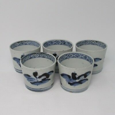 F853: Japanese old KO-IMARI blue-and-white porcelain 5 SOBACHOKO cups in 1700's