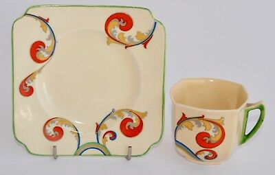 Art Deco1930s Royal Doulton SYREN D5102 Tea Cup and Plate - Paisley Swirls
