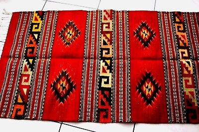EXLARGE VTG Chimayo Style Handwoven/Knotted Wool Rug Tapestry Blanket Mexico NEW
