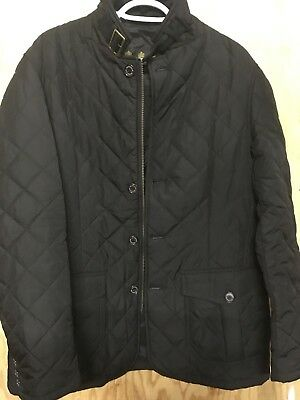 RARE MENS BARBOUR QUILTED LUTZ JACKET COAT BLACK Large