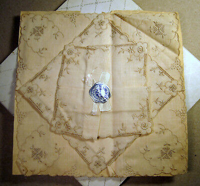 Swiss Vintage Ladies Handkerchief Hankie Loom Embroidered Lot Ecru Fine Details