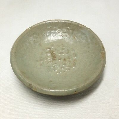 F809: REAL old Korean Goryeo Dynasty blue porcelain small plate with relief work
