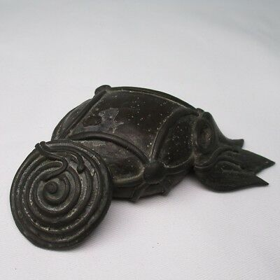 F827: Japanese old copper ornament statue as paperweight, etc with good taste
