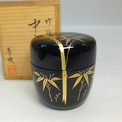 F883: Japanese lacquer ware powdered tea container with bamboo MAKIE w/box