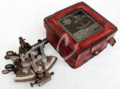 Beautiful Nautical Maritime Victorian Traveling Sextant w/Glass Top Leather Case