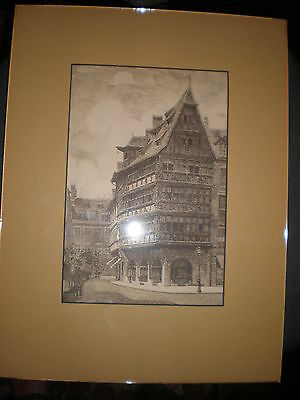 Antique print  Maison Kammerzell purchased in Strasboug with mount