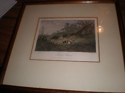 Antique original hunting print 1865 hand coloured  engraving First Blood