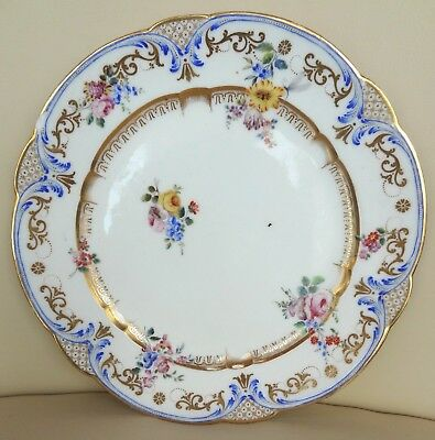 18th Century Sevres Floral Porcelain Plate with Added Insect - S painters mark