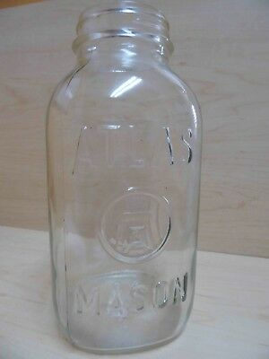 Vintage Atlas H over A Mason Clear Square Large 9 inch Jar