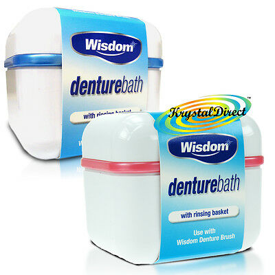 2x Wisdom Denture Bath Rinsing Basket Bowl Dental Storage Box Container Case