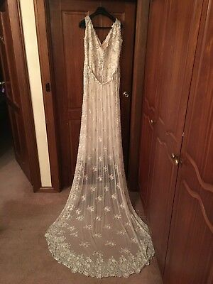 Hand Beabed French Lace Wedding Dress